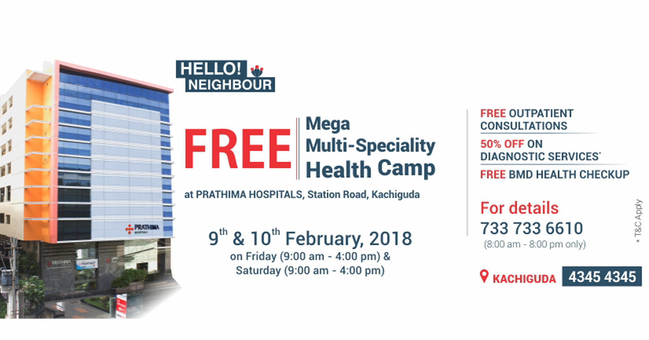 Free Mega Health Camp at prathima hospitals
